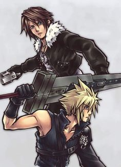 Squall Leonhart and Cloud Strife. Final Fantasy VIII and Final Fantasy VII. Or KH I can't determine what kind of fanart it is even though Cloud doesn't have his KH sword. Final Fantasy Cloud, Final Fantasy Artwork, Final Fantasy Characters, Final Fantasy Collection, Fantasy Series, Videogames, Tetsuya Nomura, Kingdom Hearts Art, Fanart