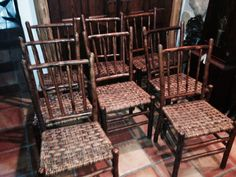 Set 8 dining chairs, rod back, skip woven rattan seats by Old Hickory, Christibys SOLD