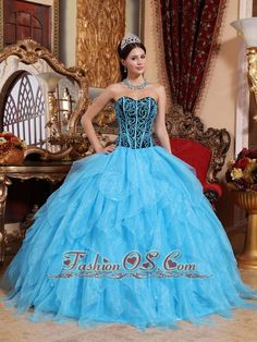 Modest Aqua Blue Quinceanera Dress Sweetheart Floor-length Organza Embroidery with Beading Ball Gown  http://www.facebook.com/quinceaneradress.fashionos.us  http://www.youtube.com/user/fashionoscom?feature=mhee   Fresh and soft! This fabulous sweetheart blue quinceanera dress is featured with the ruffles on the bottom of the dress. And the black bodice is entrusted with intricate beading and straight blue thin straps. The contrasting colors will make heads turn easily!