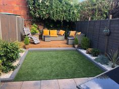 Backyard Ideas Discover St Lucia Artificial Grass Whos enjoying this beautiful garden weather? Ditch your lawnmower for good with Artificial Grass! No chores No mud No mess Just the perfect area to kick-back and relax Featured Range: St Lucia Small Back Gardens, Small Courtyard Gardens, Small Backyard Gardens, Small Backyard Landscaping, Outdoor Gardens, Landscaping Ideas, Backyard Ideas, Small Back Garden Ideas No Grass, Artificial Grass Ideas Small Gardens