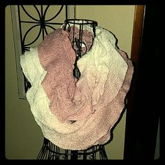 Glittery ruffled infinity scarf Beautiful pink and white color mesh creates a rose effect. Full elastic. Chinese Laundry Accessories Scarves & Wraps