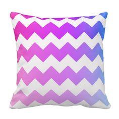 Rainbow Ombre Chevron Throw Pillow for teen girls bedroom decor #decampstudios