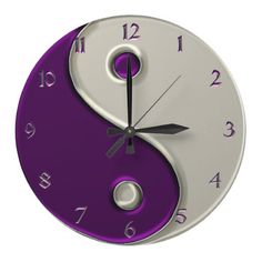 Yin Yang Clock in Purple