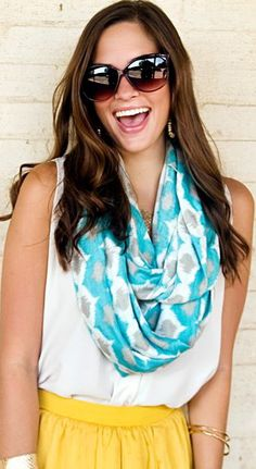 "We've partnered with Accessory Auctions during our March Art Auction on Facebook (facebook.com/ugallery) to bring you awesome deals on both art and accessories! ""Turquoise and grey infinity scarf by Accessory Auctions"""