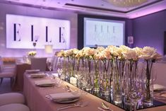 At the Elle Women in Hollywood awards this month at the Four Seasons Los Angeles at Beverly Hills, six-time designer-producer Caravents chose a blush tone for the tabletops to complement main sponsor Calvin Klein Reveal fragrance's bottle and packaging. Clear glass vessels at the center of the table held white roses.