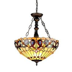 Tiffany-style Victorian-design 3-light Inverted Pendant  from Overstock $157.99