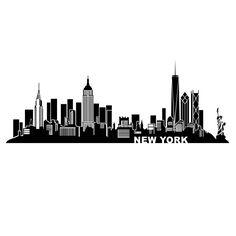 Wandtattoo New York Skyline - Silhouette NY - Manhattan Skyline, Manhattan New York, New York Poster, City Poster, Skyline Art, Nyc Skyline Tattoo, New York Skyline Silhouette, New York Tattoo, Silhouette Tattoos