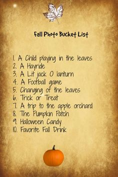 It's time for pumpkins, hot apple cider and changing leaves. Here is my must have list for Fall Photography