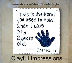 Online orders from anywhere.  Ceramic handprints of your baby or child. www.etsy.com/shop/Dprintsclayful