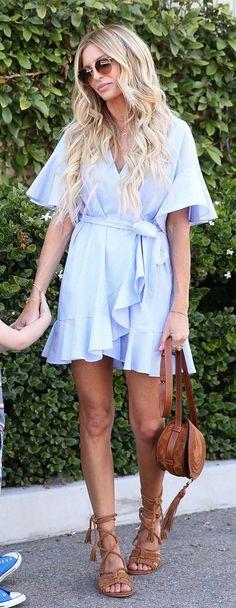 #outfits #summer del bebé azules Wrap Dress + Brown sandalias // Shop Esta vestimenta En El Enlace