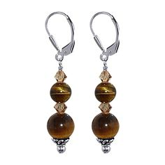 Gem Avenue 925 Sterling Silver Brown Tiger Eye Gemstone Made with Swarovski Elements Smoked Topaz Color Crystal Leverback Drop Earrings * Thanks a lot for having viewed our picture. (This is our affiliate link) Gold Chandelier Earrings, 18k Gold Earrings, Platinum Earrings, Aquamarine Earrings, Ear Earrings, Black Earrings, Gemstone Jewelry, Tigers Eye Gemstone, Designer Earrings