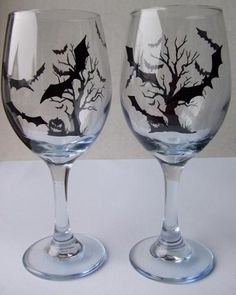 """Halloween glasses.. *sigh* why do they always ruin lovely bat decor with stupid jack o lanterns,,, i hate it even more when they ruin them with """"witches"""""""