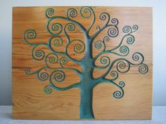 Tree Swirl Wood Carved Art Wall Hanging  use elmers glue and have pt put hand prints on it
