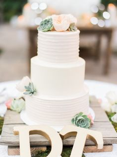 Succulent topped wedding cake: http://www.stylemepretty.com/little-black-book-blog/2016/01/01/san-juan-capistrano-wedding-hayley-paige-sweetheart-dress/ | Photography: Honey Honey - http://www.hoooney.com/