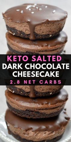 This incredible Salted Dark Chocolate Cheesecake has three rich chocolate layers that make the perfect keto dessert under 3 net carbs each! recipes easy no bake keto Keto Salted Dark Chocolate Cheesecake Keto Cheesecake, Chocolate Cheesecake, Chocolate Recipes, Low Carb Sweets, Low Carb Desserts, Diabetic Desserts, Healthier Desserts, Low Carb Dinner Recipes, Keto Recipes