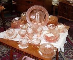 Pink Depression Glass: Patterns, Prices and Reproductions Antique Dishes, Antique Glassware, Vintage Dishes, Vintage Pyrex, Fostoria Glassware, Etched Glassware, Antique Pottery, Vintage Bowls, Vintage Kitchenware