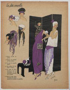 La mode pour le Printemps 1922. 1922. Metropolitan Museum of Art (New York, N.Y.). Thomas J. Watson Library.Trade Catalogs.  #tradecatalog #purple #fashion | Some of Printemps' lovely 1922 creations.