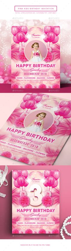 Pink Kids Birthday Invitation by arifpoernomo File features : Adobe Photoshop (PSD File) Letter Size Inches) Bleed area Invitation Size Inches) Bleed ar Invitation Card Birthday, Anniversary Invitations, Baby Shower Invitations, Invitation Cards, Clown Cake, Girly, Pink Kids, Happy Birthday
