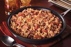 """VELVEETA® Easy Red Beans & Rice recipe  Quick, easy, and more healthful.  I personally would prefer cut up Roger Wood """"Lumberjack"""" sausage."""