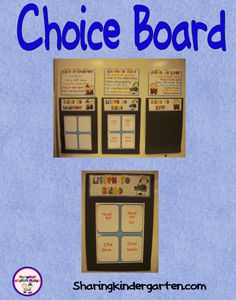 My choice boards for classroom management of Daily 5- you use this to manage students and their tasks