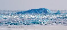 Blue ice mountain on Lake Huron