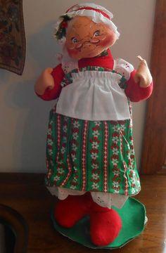 "Vintage Annalee Mobilitee 1967 1968 19"" Mrs Santa Claus  Christmas Holiday Doll #Annalee"