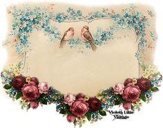 Violeta lilás Vintage: Template Pássaros e Flores