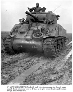 An M4 with the 6th AD, 68th Battalion, Company C, with duckbills, driving in mud.