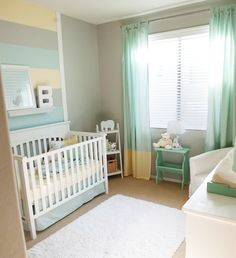 we could easily use theses colors to divide the nursery for a boy and girl