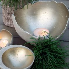 There are various other options for spraying inside the concrete sphere. Use Rust-Oleum Universal metallic spray paint in silver or gold to reflect light.