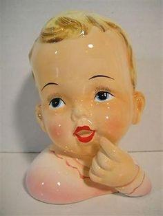 1950 early 60's Vintage Baby Girl Ceramic Head Vase B/R Japan