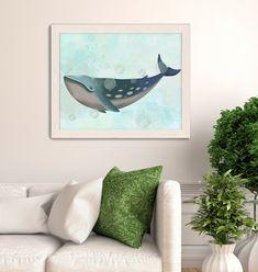 Whale wall art - Whale Bubbles 1 - Whale beach wall art Nautical bathroom Coastal art Beach wall art Big canvas art Beach house decor