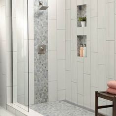 Shower Accent Tile, White Tile Shower, Small Bathroom With Shower, Master Bathroom Shower, Bathroom Tile Showers, Master Bathrooms, Tiled Showers, Small Bathrooms, Bathroom Vanities