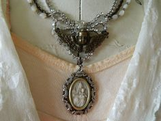 SALE Assemblage Necklace Antique Religious Medal by 58Diamond