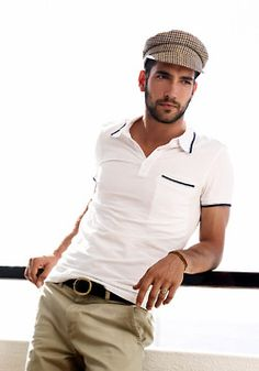 simple shirt with fitted khakis