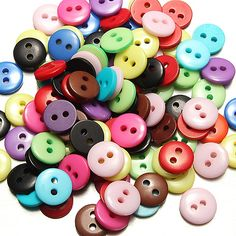 100 Pcs 2 Holes Mixed Color Round Resin Button Sewing Accessories