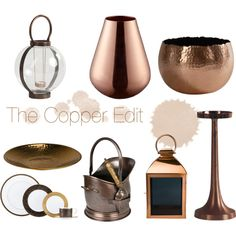 A home decor collage from August 2015 featuring lenox dinnerware, clay dish and black home decor. Broste Copenhagen, Interior Decorating, Interior Design, House Of Fraser, Copper, Ceiling Lights, Mirror, Polyvore, Collage