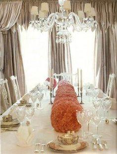 Love the carnation poms running length of table
