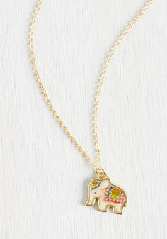 Herd Up! Necklace. Word on the street is that no look is complete without this golden elephant necklace! #multi #modcloth