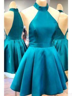 Simple Blue Halter Mini Satin Homecoming Dresses(ED2527) Teal Homecoming Dresses, Hoco Dresses, Cheap Prom Dresses, Sexy Dresses, Blue Dresses, Dress Prom, Graduation Dresses, Wedding Dresses, Dance Dresses