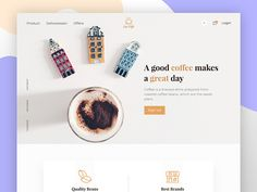 Coffee shop website designed by Ariful Islam. Connect with them on Dribbble; Web Design, Homepage Design, Sign Design, Graphic Design, Shopping Day, Shopping Websites, Coffee Shop Website, Quick Healthy Breakfast, Layout