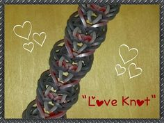 """This is a hooked design. No loom needed. New """"Love Knot"""" Hook Only Rainbow Loom Bracelet/ How To Tutorial Crazy Loom Bracelets, Rainbow Loom Bracelets Easy, Loom Band Bracelets, Rainbow Loom Tutorials, Wonder Loom, Monster Tail, Lovely Tutorials, Rainbow Loom Bands, Bracelet Tutorial"""