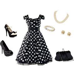 Vintage black, polka dots, and pearls