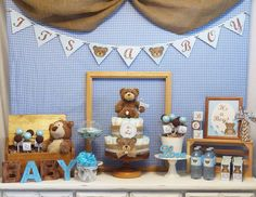 "Teddy Bear  / Baby Shower ""Teddy Bear, Blue & Brown Baby Shower"" 