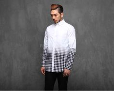 Mens Extanded Gradation Plaid Shirt at Fabrixquare $62