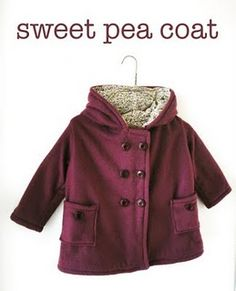 sweet pea coat free pattern. Would be cute for a fall jacket for My girls