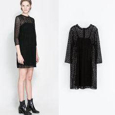 hot sale women fashion casual black lace dressvestidos casual free shipping brand style women 2014 fashion high quality dress