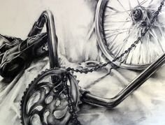 Bicycles in art. Bike Parts in Black & White | Art by Meghan Taylor