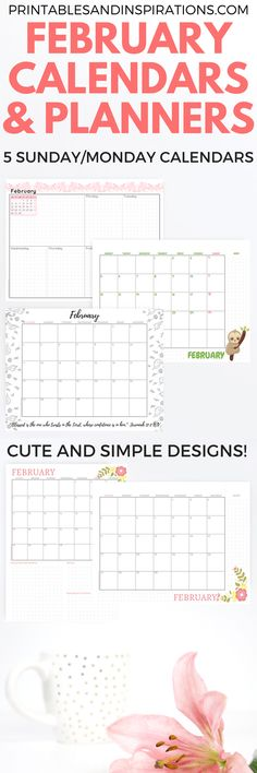 February 2018 printable calendars, printable planners, monthly planner, weekly planner, February calendar printables