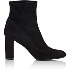 Barneys New York Women's Block-Heel Ankle Boots (5.255.075 IDR) ❤ liked on Polyvore featuring shoes, boots, ankle booties, ankle boots, black, black block heel booties, high heel ankle boots, black leather ankle booties, black high heel boots and black bootie